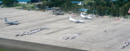 Relief goods staged for dispatch on Mactan, Cebu runway